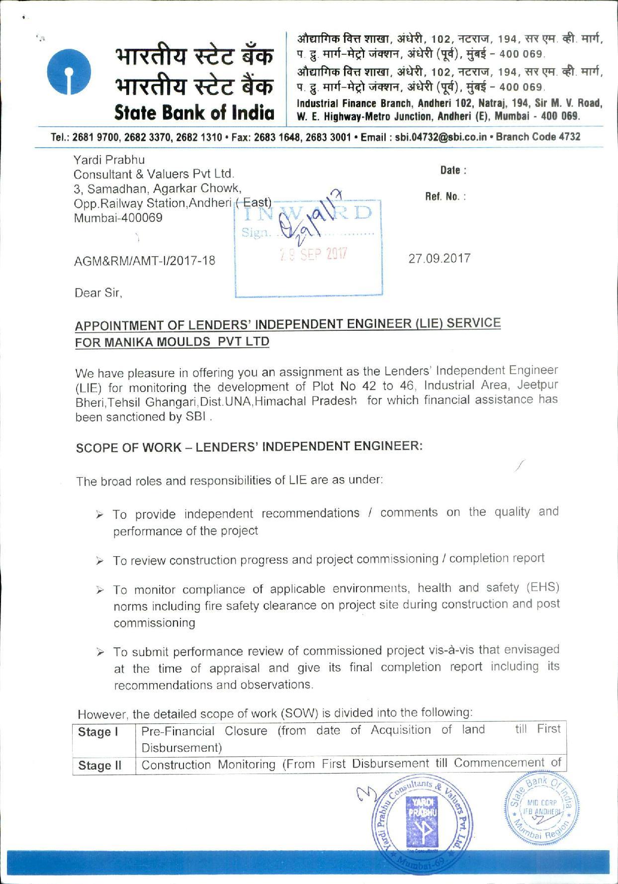 Lenders Independent Engineer (LIE) - Yardi Prabhu