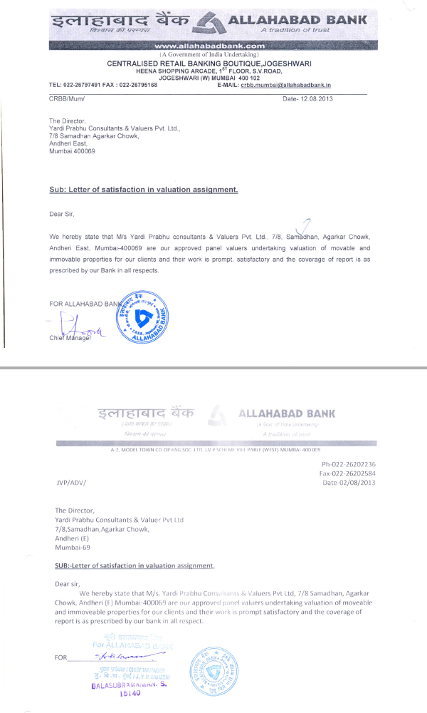 Appreciation Letters Yardi Prabhu Consultants Valuers Pvt Ltd